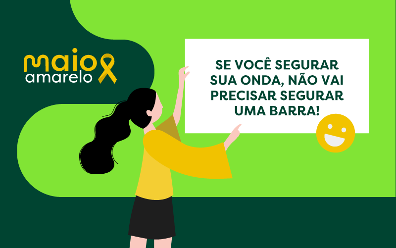 Ilustração de uma menina segurando um cartaz que diz: se você segurar sua onde, não vai precisar segurar uma barra!